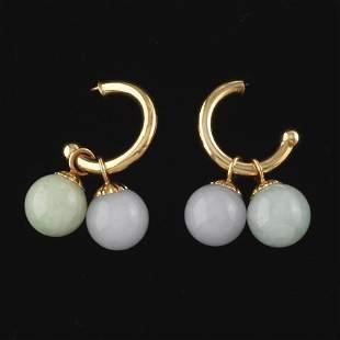 Ladies' Gold and Jade Ball Pair of Earrings