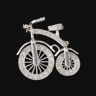 """Cute Gold and Diamond """"High Wheeler"""" Old Time Penny"""