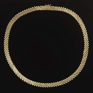 Ladies' Vintage Italian Gold Spiral Zig-Zag Bar Link