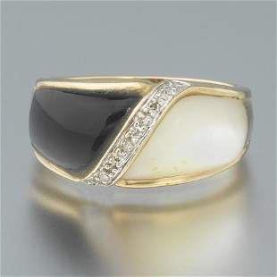 Ladies' Gold, Black Onyx, MOP and Diamond Dome Ring
