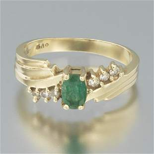 Ladies' Gold, Emerald and Diamond Ring