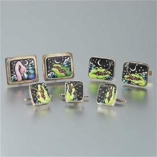 """Artisan Sterling Silver and Enamelled """"Groovy Crocodile"""