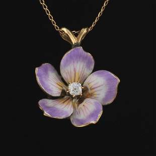 Ladies' Victorian Gold, Diamond and Enamel Floral