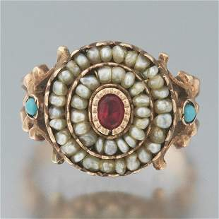 Ladies' Victorian Gold, Seed Pearl, Ruby and Turquoise