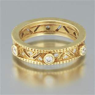 Ladies' Byzantine Revival Gold and Diamond Band