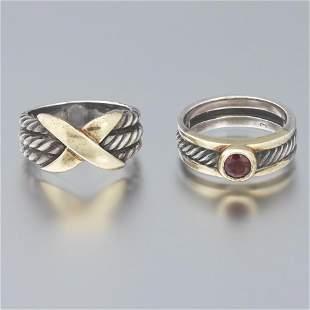 Two David Yurman Silver and Gold Rings
