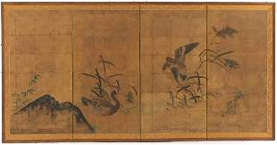 Chinese Hand Painted Four-Panel Signed Screen
