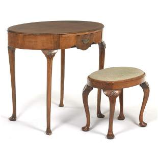 French Oval Vanity Table and Companion Stool