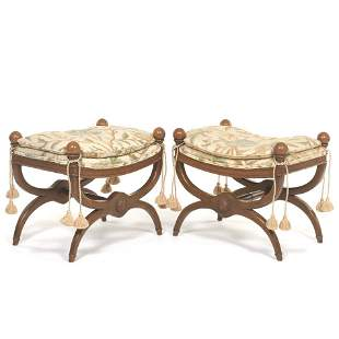 Pair of Benches with Crewel Upholstered Top and Pillow