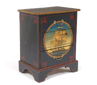Nautical Hand Painted Wooden Chest of Drawers