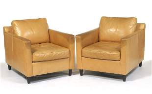 Pair of Mitchell Gold + Bob Williams Leather Club