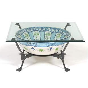 Italian Porcelain Bowl in a Wrought Iron Table with