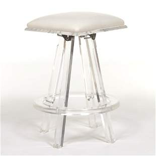 MCM Lucite and Leather Stool