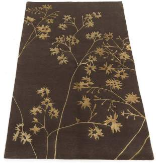 Fine Hand-Knotted Silk and Wool MCM Design Carpet