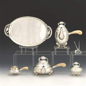Georg Jensen Sterling Silver Six-Piece Tea-Coffee