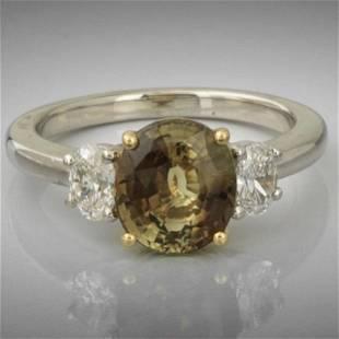Ladies' Platinum, Gold, Natural Alexandrite and Diamond