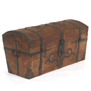 Continental Pine and Iron Trunk, ca. 19th Century