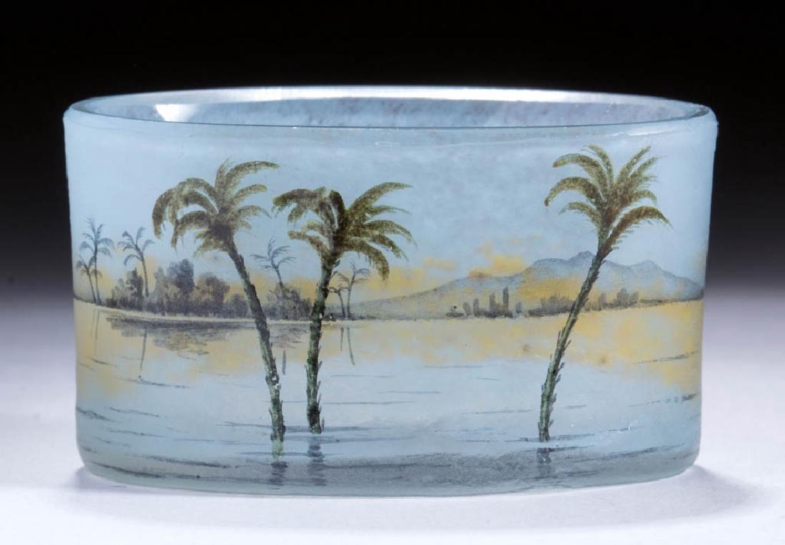 DAUM NANCY FRENCH SCENIC ART GLASS OPEN SALT
