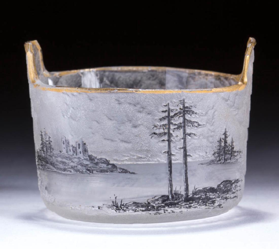DAUM NANCY FRENCH SCENIC CAMEO ART GLASS OPEN SALT