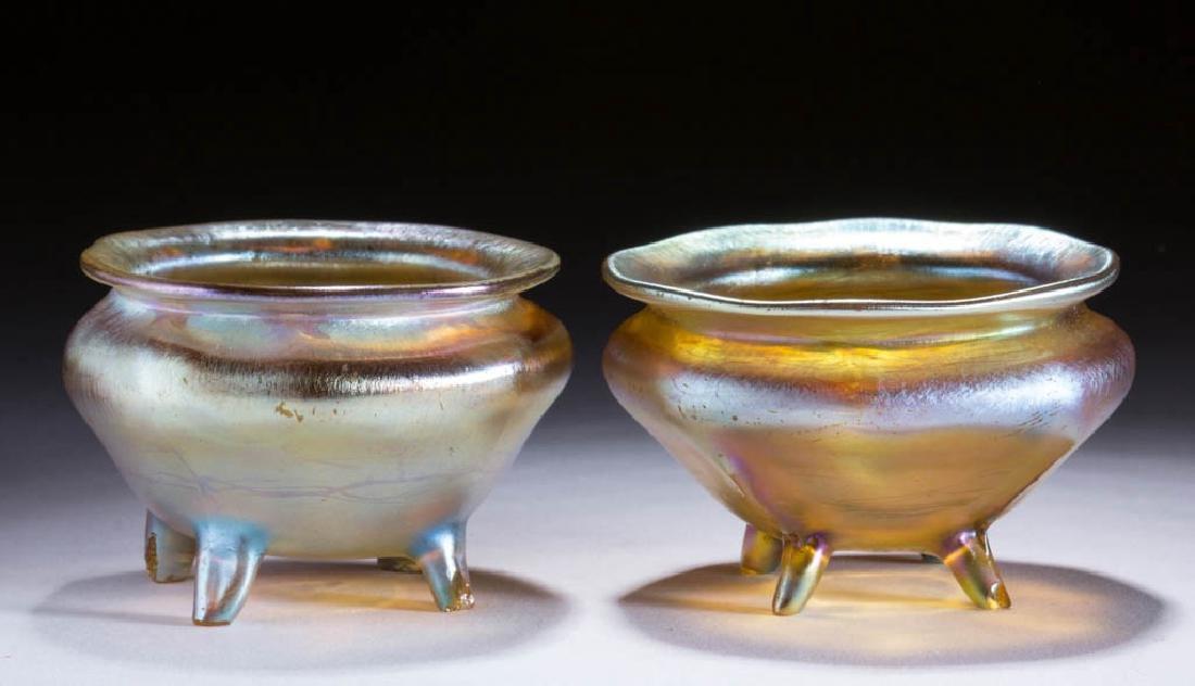 TIFFANY FAVRILE ART GLASS OPEN SALTS, LOT OF TWO