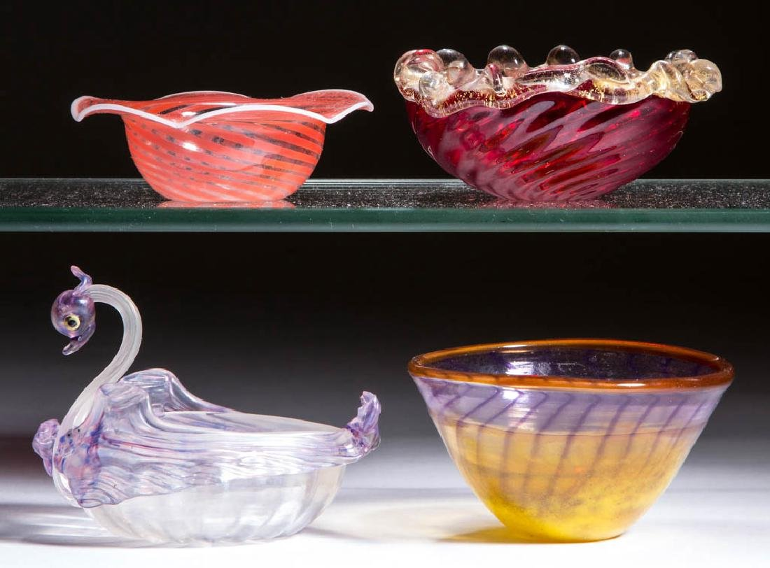 ASSORTED CONTEMPORARY GLASS OPEN SALTS, LOT OF FOUR