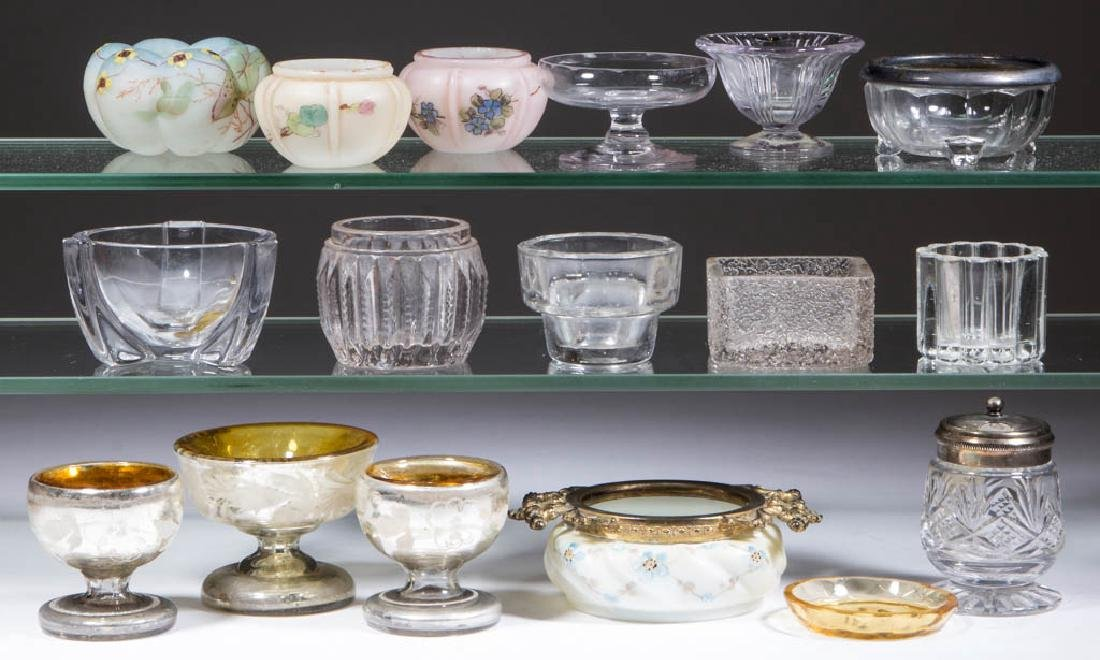 ASSORTED GLASS OPEN SALTS AND OTHER ARTICLES, LOT OF 17