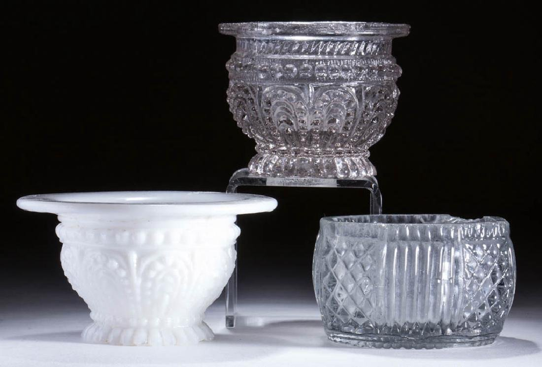 ASSORTED MOLDED OPEN SALTS, LOT OF THREE