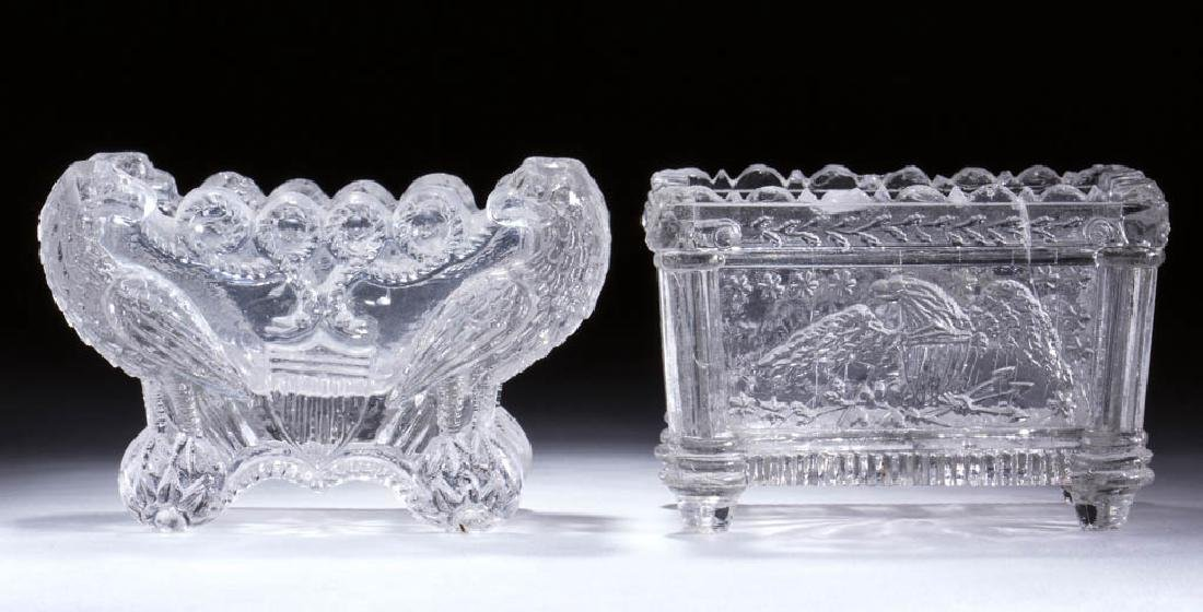 ASSORTED EAGLE LACY PRESSED OPEN SALTS, LOT OF TWO