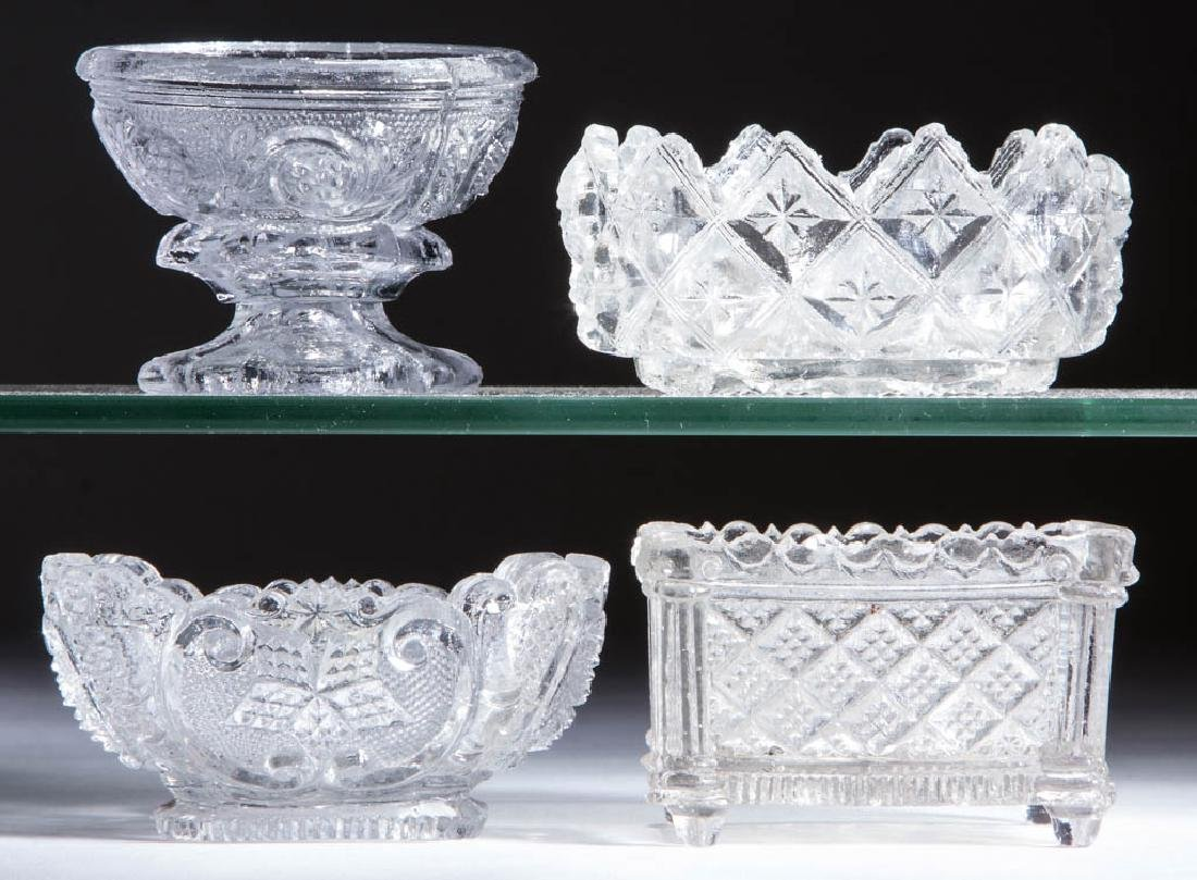 ASSORTED LACY PERIOD PRESSED OPEN SALTS, LOT OF FOUR