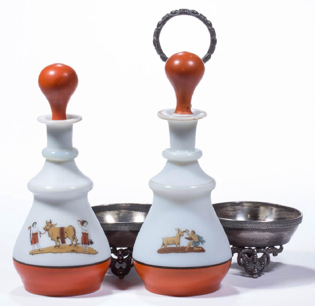DECORATED OPAL PAIR OF COLOGNE BOTTLES WITH STAND - 2