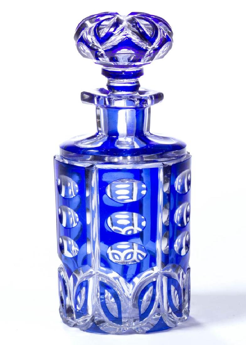CUT OVERLAY OVAL AND LEAF COLOGNE / PERFUME BOTTLE