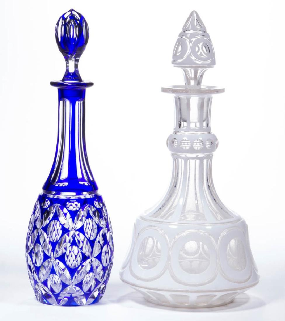 ASSORTED CUT OVERLAY DECANTERS, LOT OF TWO
