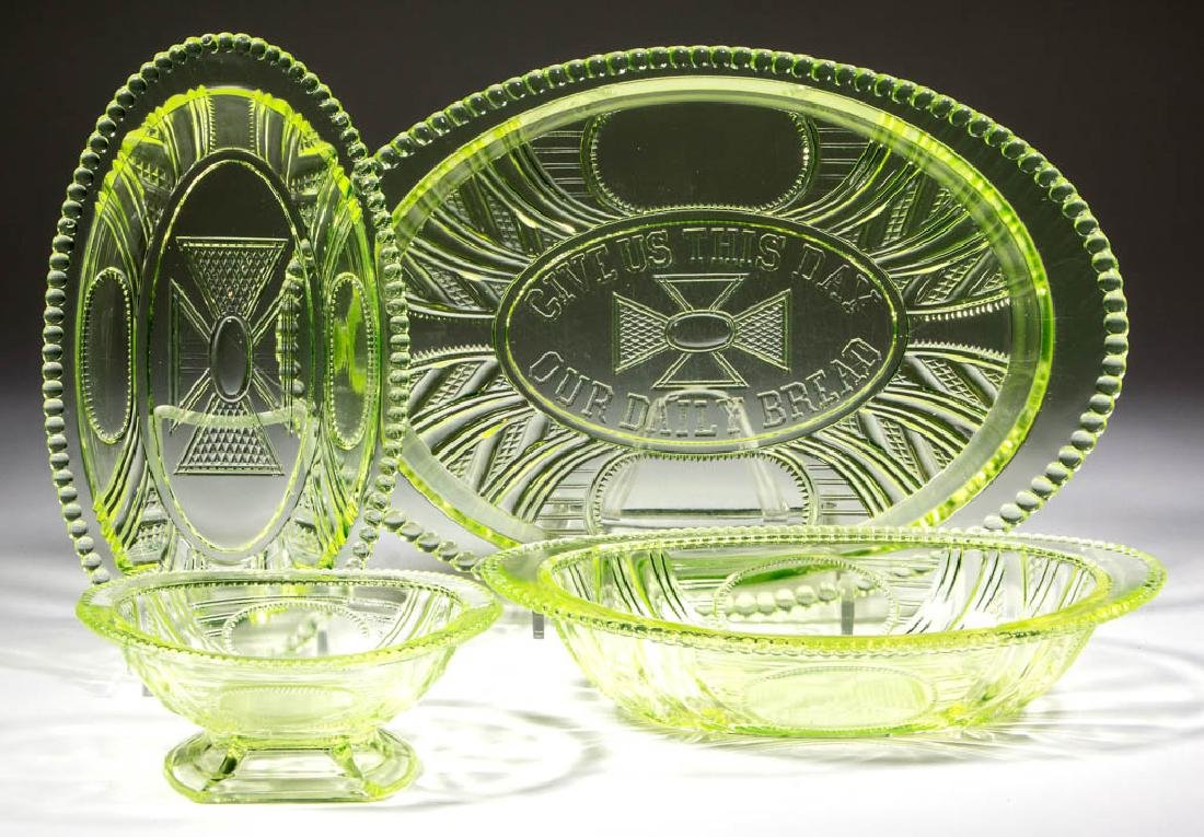 ARGYLE / BEADED OVAL WINDOWS TABLE ARTICLES, LOT OF