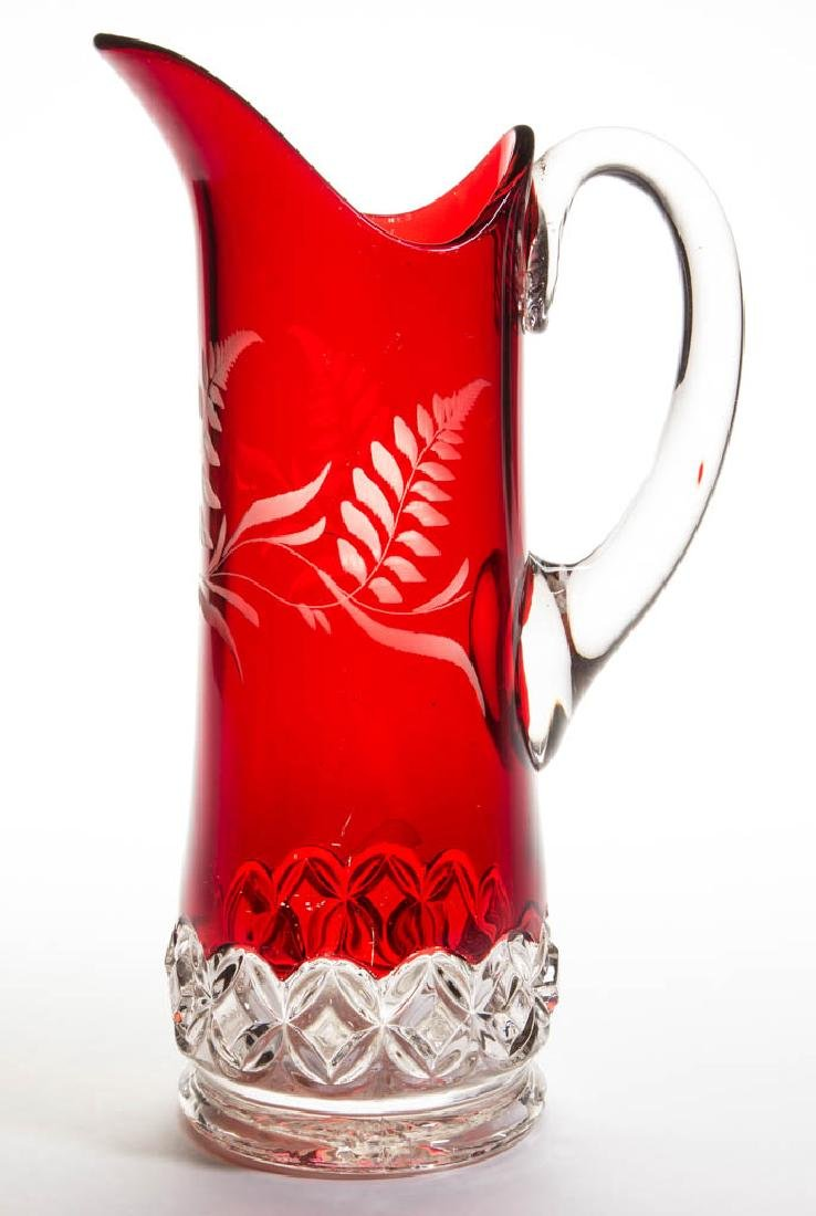 HERO / RUBY ROSETTE - RUBY-STAINED WATER PITCHER