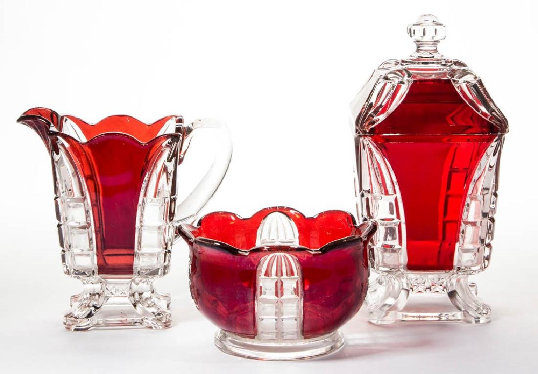 HIDALGO / ADAMS NO. 5 - RUBY-STAINED TABLE ARTICLES,