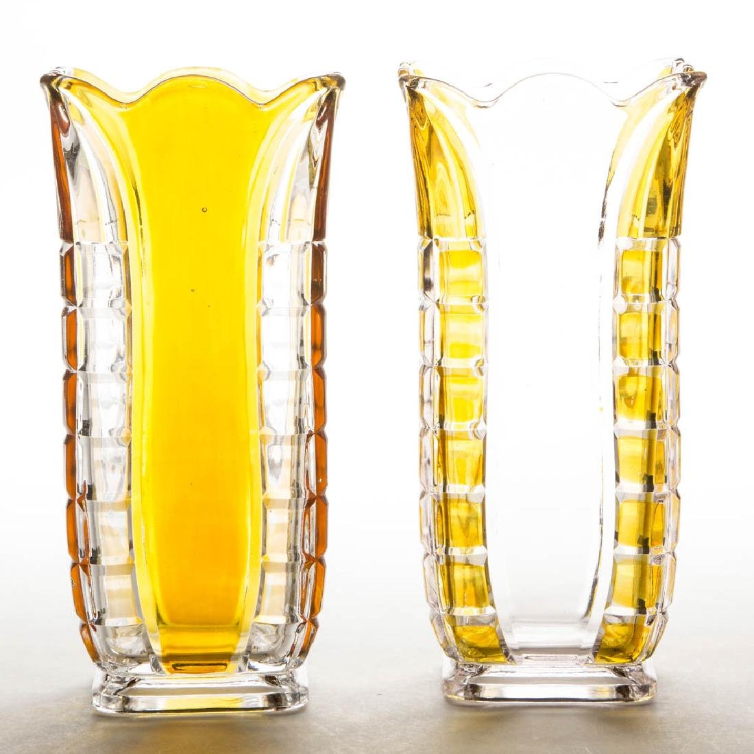 HIDALGO / ADAMS NO. 5 - AMBER-STAINED CELERY VASES, LOT