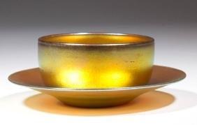 STEUBEN AURENE ART GLASS BOWL AND UNDERPLATE