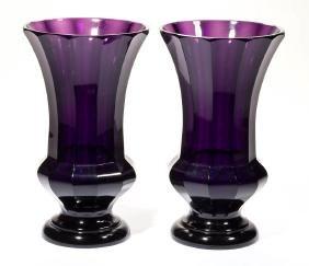 MOSER PANELLED ART GLASS PAIR OF VASES
