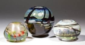 ASSORTED STUDIO ART GLASS BALL-FORM VASES, LOT OF THREE