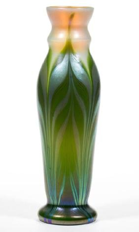 LUNDBERG PULLED FEATHER STUDIO ART GLASS VASE