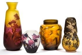 ASSORTED REPRODUCTION GALLE AND MULLER-STYLE ART GLASS