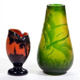 ASSORTED CONTEMPORARY CAMEO ART GLASS VASES, LOT OF TWO