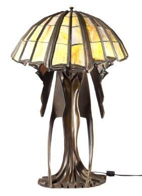 ART DECO AFTER PETER BEHRENS ART GLASS LAMP