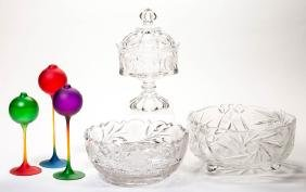 ASSORTED 20TH CENTURY GLASS ARTICLES, LOT OF SIX