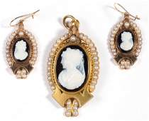ANTIQUE 14K GOLD CAMEO AND PEARL DEMIPARURE