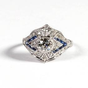 ART DECO LADY'S PLATINUM, DIAMOND AND SAPPHIRE RING