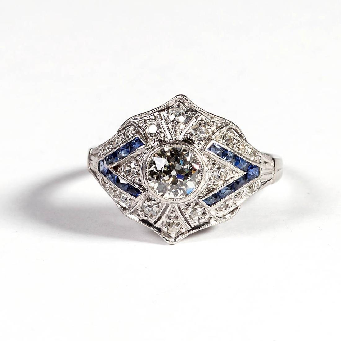 ART DECO LADY'S PLATINUM, DIAMOND AND SAPPHIRE RING