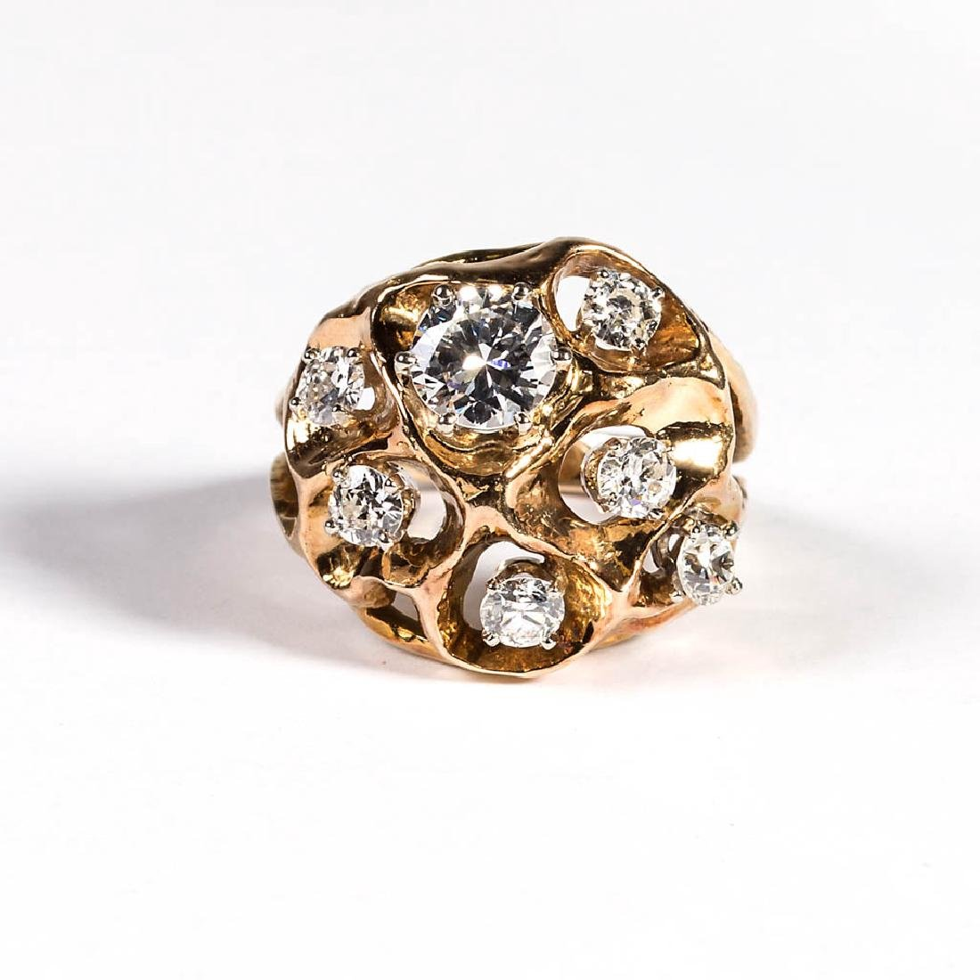 VINTAGE LADY'S 14K GOLD AND DIAMOND FASHION RING