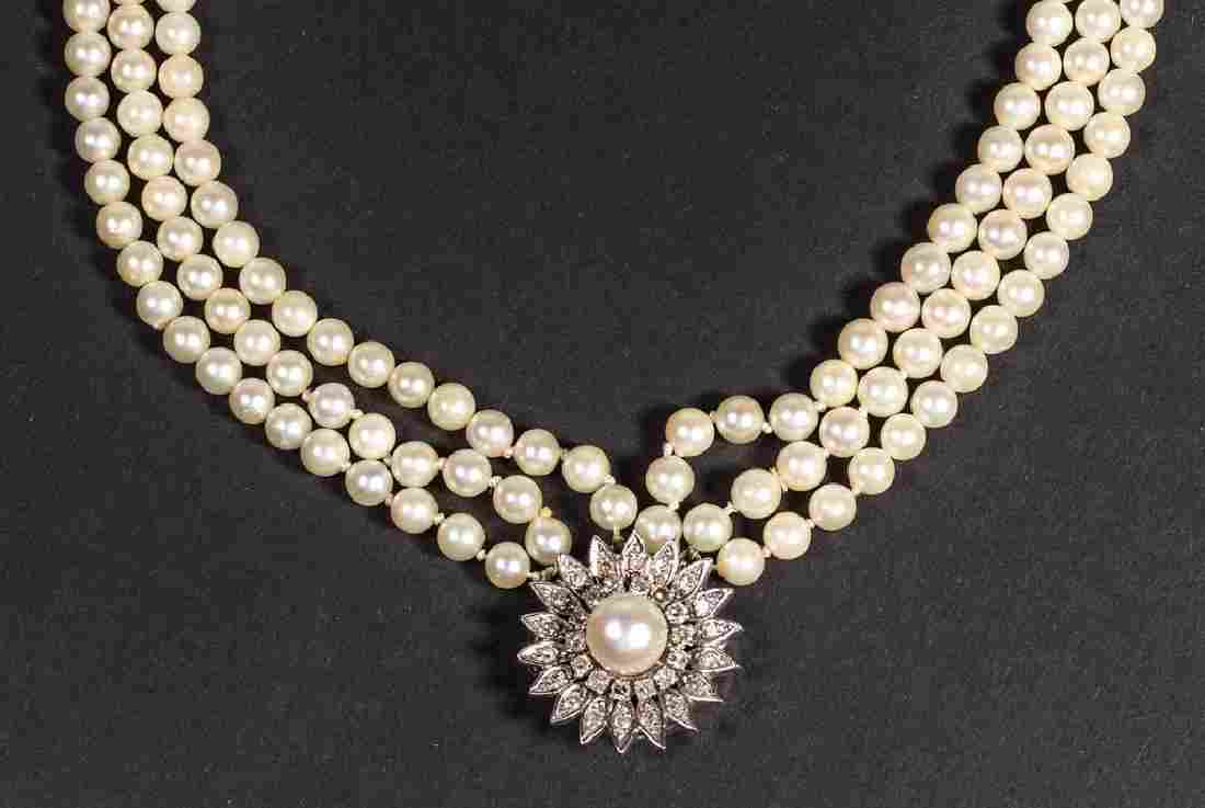 VINTAGE LADY'S 14K GOLD, PEARL, AND DIAMOND NECKLACE