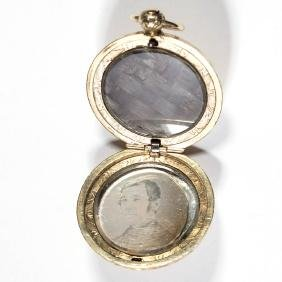 ANTIQUE 10K GOLD DAGUERREOTYPE AND MOURNING LOCKET